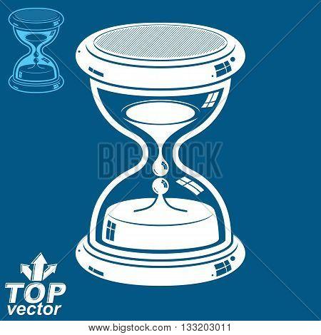 Vector antique decorative liquid 3d hourglass. Time management conceptual icon.