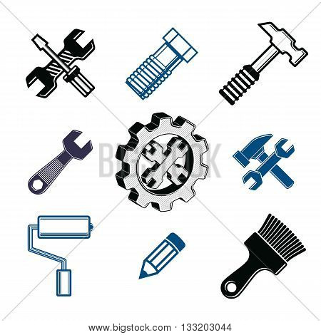 Work tools collection vector repair instruments for carpentry and manufacturing. Set