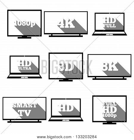 A set of high-definition video icons with long diagonal shadow vector illustration.