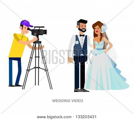 cool detailed character Photographer with camera and cute wedding couple. Vector wedding detailed character beautiful  smiling bride and groom