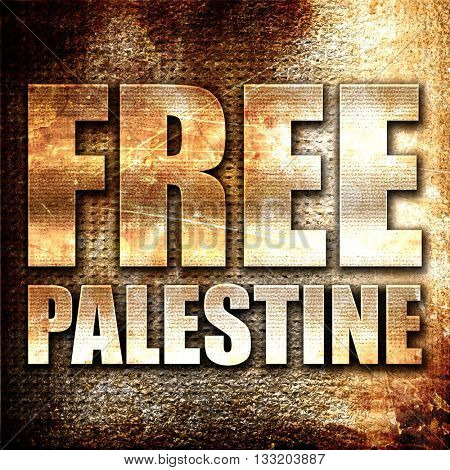 free palestine, 3D rendering, metal text on rust background