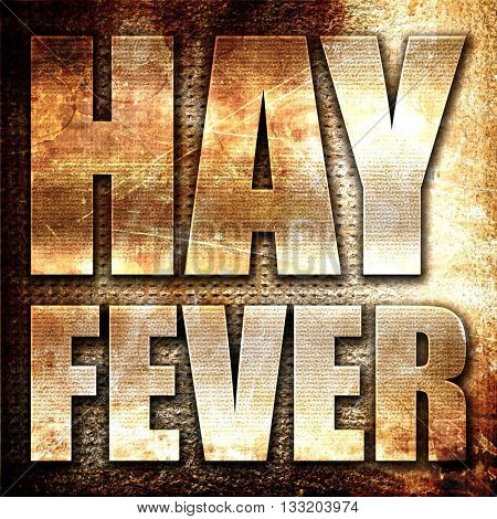 hayfever, 3D rendering, metal text on rust background