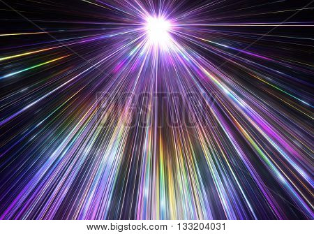 Star explosion with particles and rays. Illustration