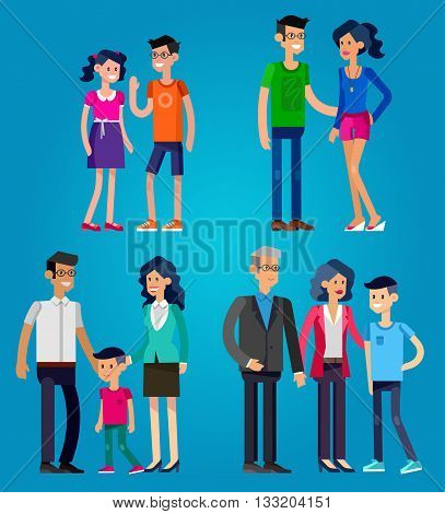 Detailed character people. Stages of life of family, young couple, childhood friendship, first date, family with baby, old parents and adult son. Vector family character. Illustration family people