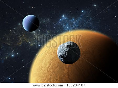 Extrasolar planets or exoplanets with moon. Illustration