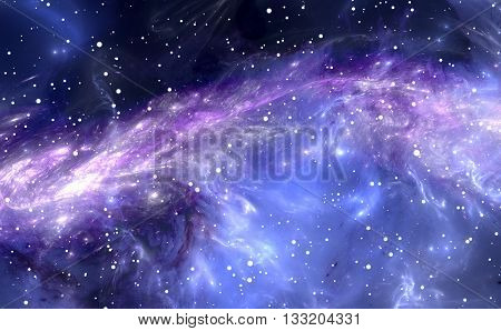 Gas-dust nebula. Deep outer space background with stars