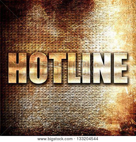 hotline, 3D rendering, metal text on rust background