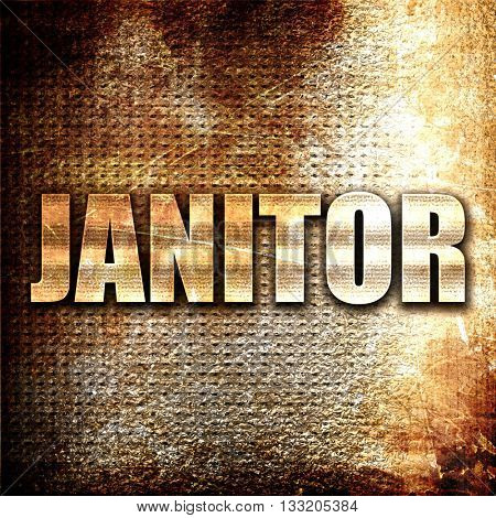 janitor, 3D rendering, metal text on rust background