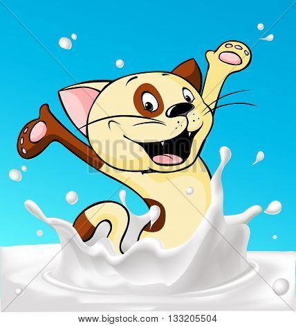 cat splash around milk - vector illustration
