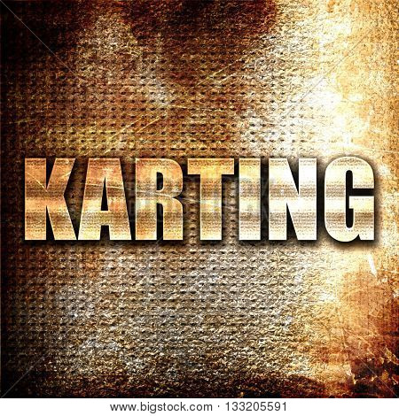 karting, 3D rendering, metal text on rust background