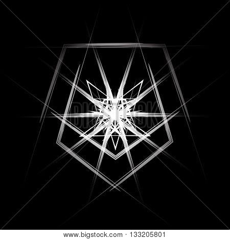 Black-and-white abstraction techno rays. Vector illustration for your design needs