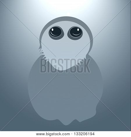 Funny ghost for halloween. Vector illustration on gray background with illumination