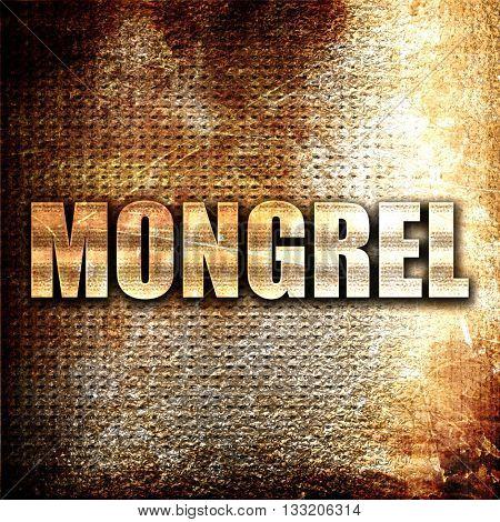 mongrel, 3D rendering, metal text on rust background