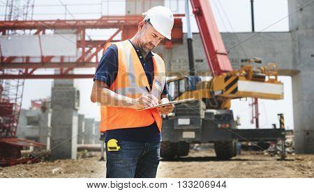 Construction Worker Planning Contractor Developer Concept