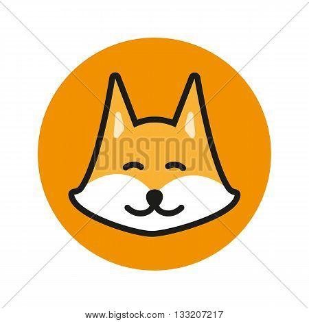 Fox vector icon. Fox logo. Cute Fox. Fox design. Fox flat. Fox in circle. Fox art. Fox head. Orange Fox Icon