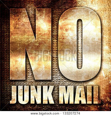 no junk mail, 3D rendering, metal text on rust background