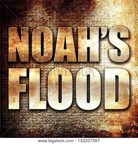 noah's flood, 3D rendering, metal text on rust background