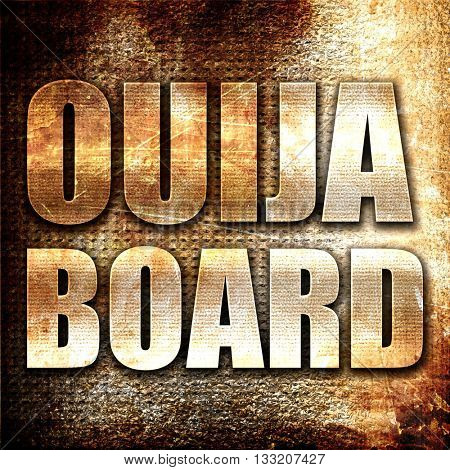 ouija board, 3D rendering, metal text on rust background