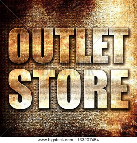 outlet store, 3D rendering, metal text on rust background