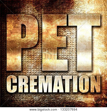 pet cremation, 3D rendering, metal text on rust background
