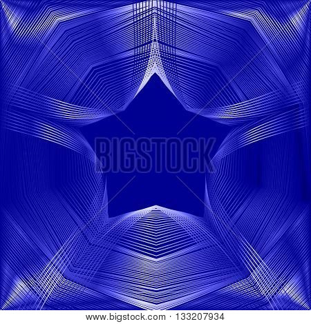 Glowing star with blending colors and effect of luminescencein on a dark blue space. Abstract vector background