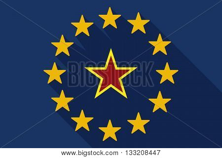 Long Shadow Eu Flag With  The Red Star Of Communism Icon