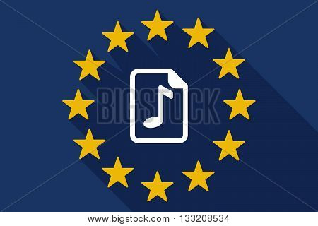 Long Shadow Eu Flag With  A Music Score Icon