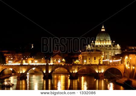 Rome - St. Peter´S Basilica By Night
