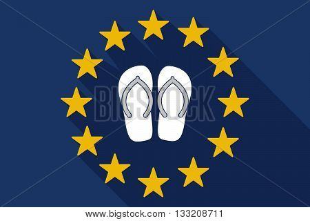 Long Shadow Eu Flag With   A Pair Of Flops