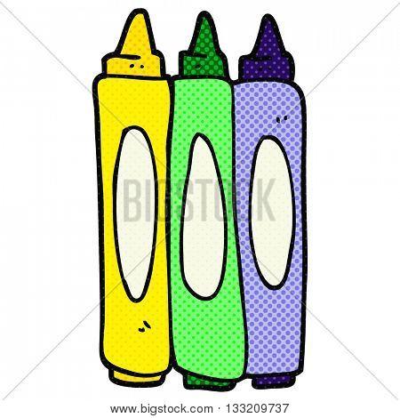 freehand drawn cartoon crayons