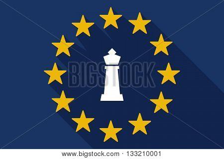 Long Shadow Eu Flag With A  King   Chess Figure