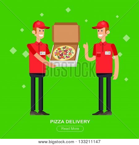 Vector detailed character, cool flat  illustration cartoon pizza delivery guy