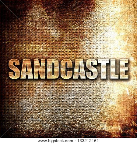 sandcastle, 3D rendering, metal text on rust background