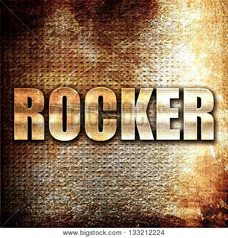 rocker, 3D rendering, metal text on rust background