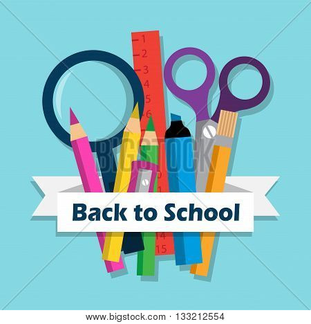 school stationery and a white ribbon with the words back to school