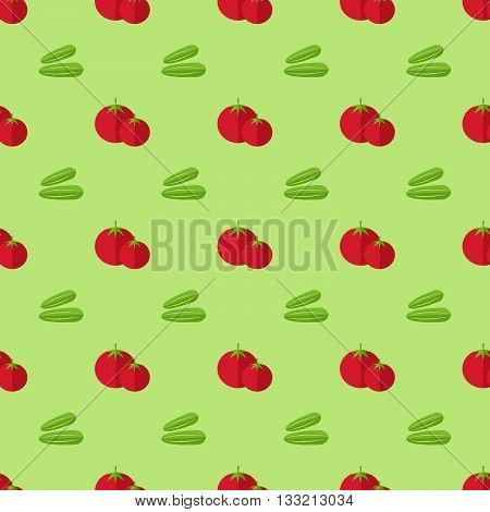 tomatoes seamless pattern, white background with red whole tomatoes and cucumbers