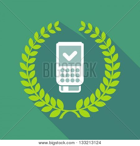 Long Shadow Laurel Wreath Icon With  A Dataphone Icon