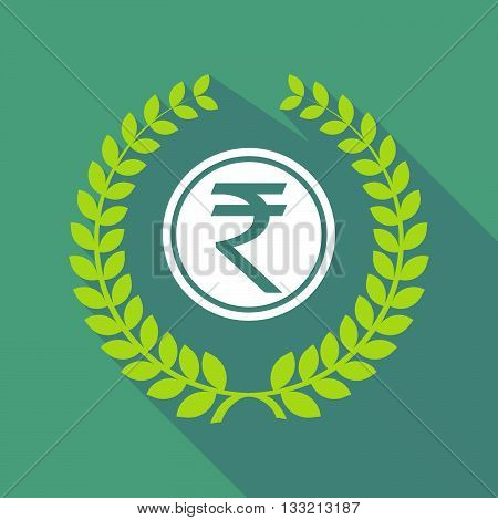 Long Shadow Laurel Wreath Icon With  A Rupee Coin Icon