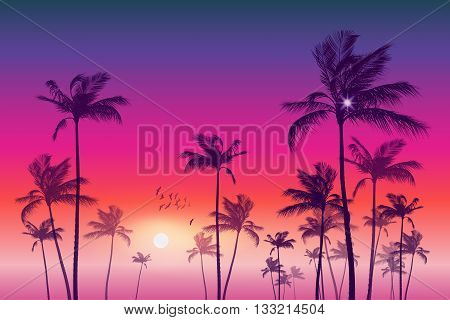 Exotic tropical palm trees at sunset or moonlight with cloudy sky. Highly detailed and editable