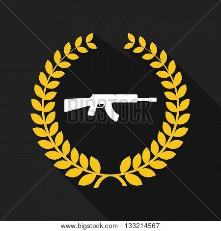 Long Shadow Laurel Wreath Icon With  A Machine Gun Sign