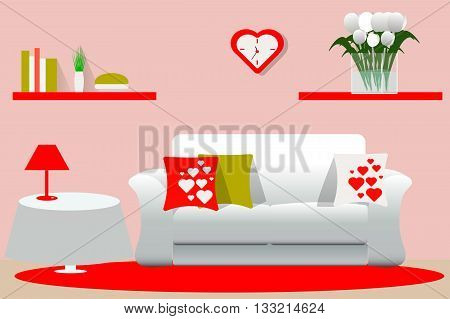 Living room interior in red, white and green, vector illustration, furniture, room design, romantic style