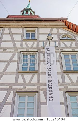 Backnang Germany - April 2 2016: Art gallery of the city of Backnang (Galerie der Stadt Backnang). It hosts different exhibitions each year with oeuvres from regional and national artists.
