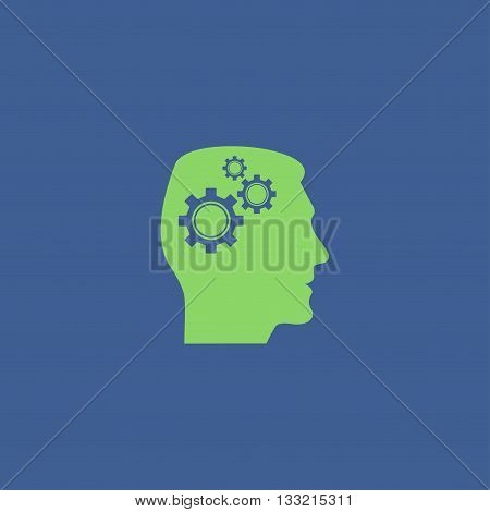 Pictograph of gear in head. Flat design style.