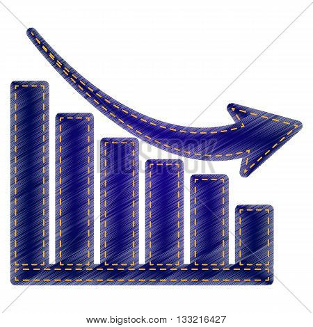 Declining graph sign. Jeans style icon on white background.