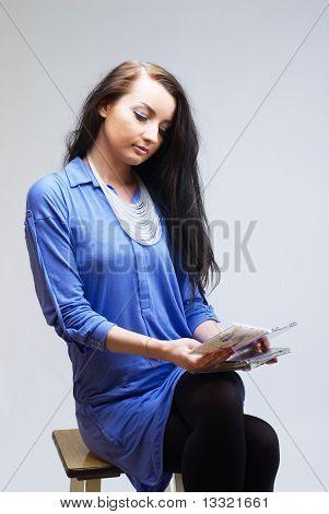 Beatiful girl with cd