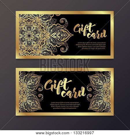 Rich gold gift certificates in the Indian style. Bohemian Cards with mandalas. Black and gold. Unique cards for printing supplies