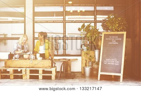 Girls Friends Talking Smiling Outdoors Concept