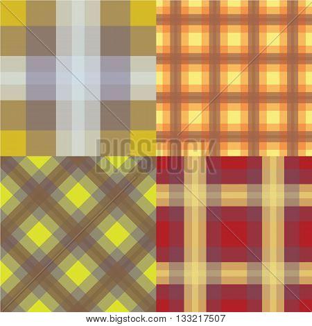 Seamless Tartan Pattern Set