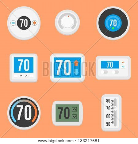 Collection of nine different, flat thermostat icons. Vector, eps10.