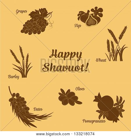 Seven Species of the Shavuot set of agricultural products with inscription on Jewish holiday. Vector illustration EPS 10